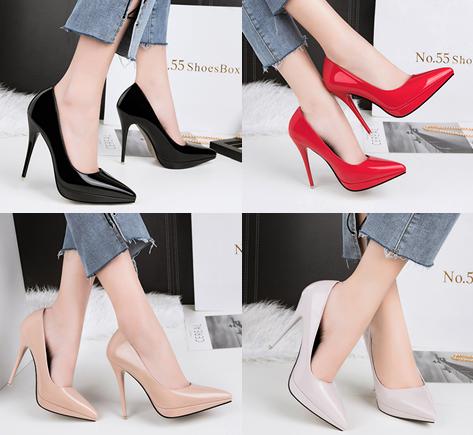 รองเท้าตัดชูปลายแหลมทรงสวยสีดำ/แดง/เทา/นู๊ด ไซต์ 34-39