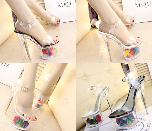 รองเท้าส้นแก้วใสแต่งดอกไม้ผ้าด้านในส้นพื้นสีดำ/ขาว ไซต์ 34-39