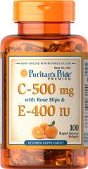 Vitamin C 500 mg & E 400 IU with Rose Hips ต้านหวัด ต้านอนุมูลอิสระ ผิวเปล่งปลั่งขึ้น ผิวขาวชุ่มชื่น