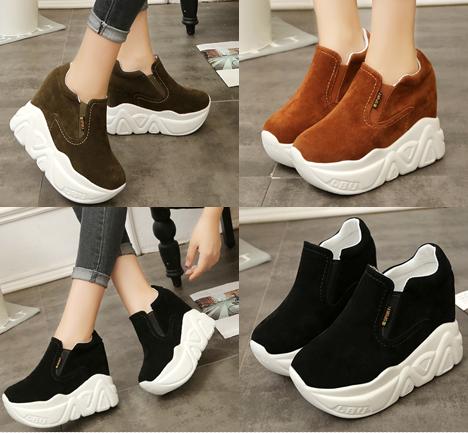 รองเท้าผ้าใบเสริมส้นสีน้ำตาล/ดำ/เขียว ไซต์ 35-39