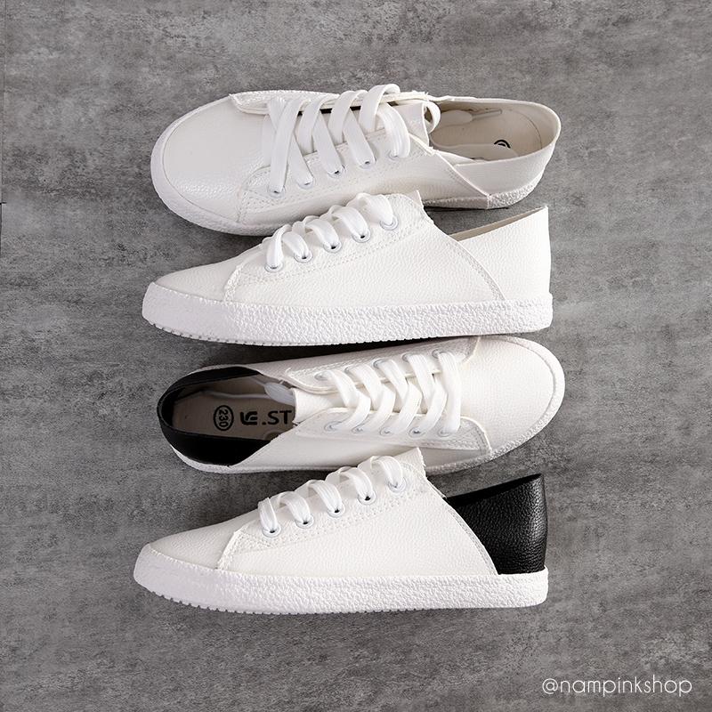 รองเท้าผ้าใบแฟชั่น(หนัง) ขนาด 35-39