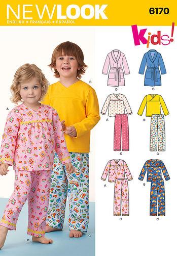 แพทเทิร์นตัดชุดนอน เด็กหญิง เด็กชาย ยี่ห้อ NEWLOOK (6170) ไซส์ 6M-1-2-3-4-5-6-7-8