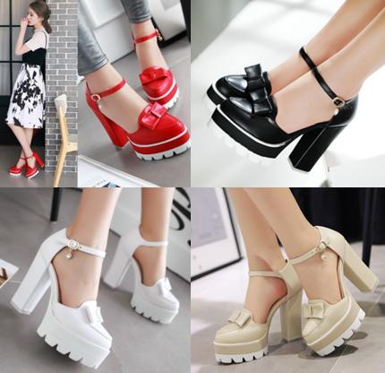 รองเท้าส้นสูงสีแดง/ครีม/ขาว/ดำ ไซต์ 34-39