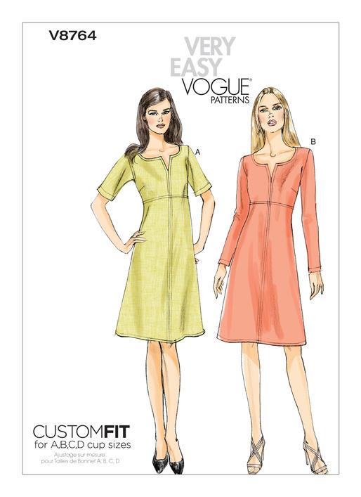 แพทเทิร์นตัดเดรสสตรี Vogue V8764 Size: 8-10-12-14-16