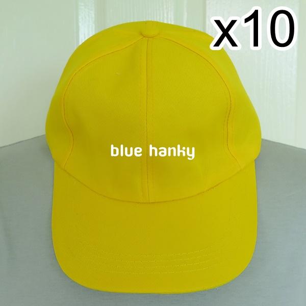 10ใบ สีเหลือง ฟรีไซส์ ราคาถูก หมวกกีฬาสี