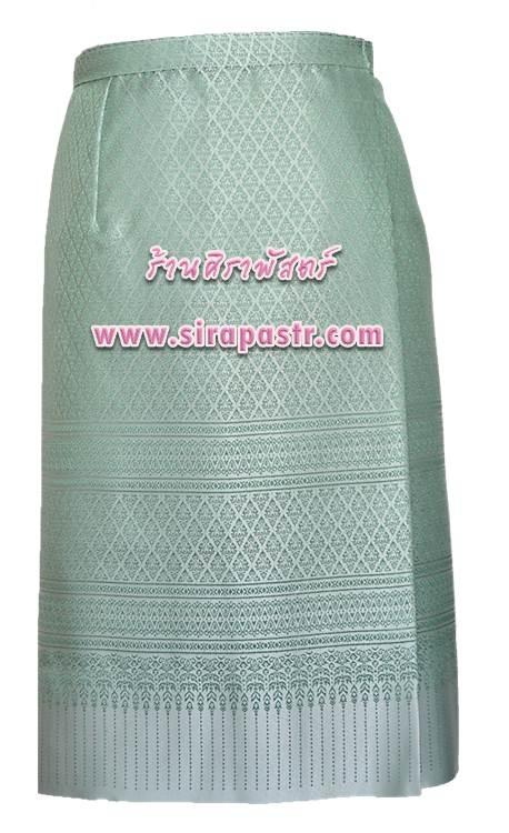 ผ้าถุงป้ายข้าง-สั้น สีเขียว S6 (เอวใส่ได้ถึง 34 นิ้ว) *รายละเอียดสินค้าในหน้าฯ