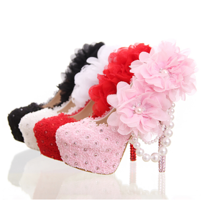 รองเท้าเจ้าสาว ไซต์ 34-39 สีดำ สีขาว สีแดง สีชมพู ส้นสูง 12,14 ซม.