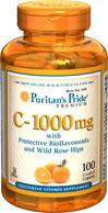Vitamin C with Protective Bioflavonoids and Wild Rose Hips 1000mg. วิตามินซี 100 เม็ด