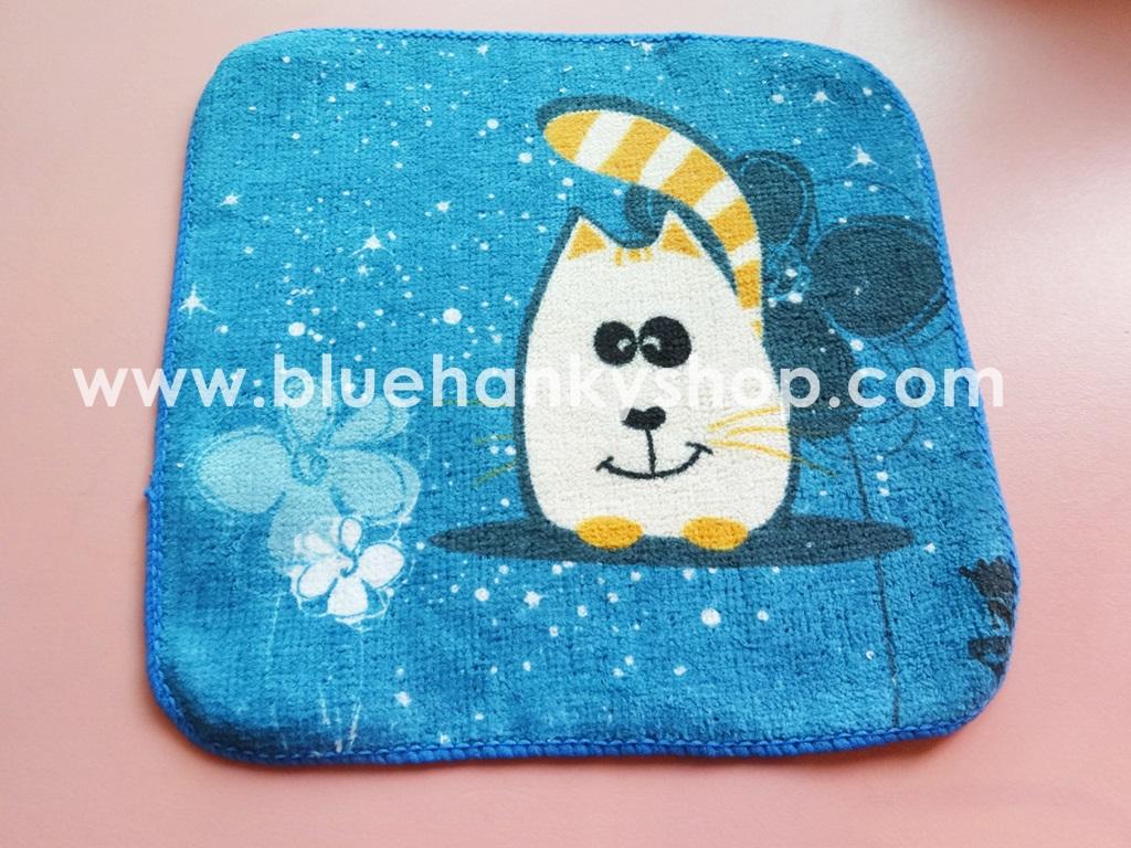 ผ้าขนหนูสีน้ำเงินลายแมวเหมียว