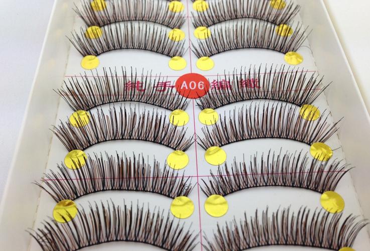 V-A06 ขนตาปลอม สีน้ำตาล (ขายปลีก) เเพ็คละ 10 คู่ ขายยกเเพ็ค