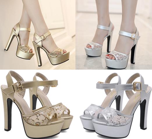 รองเท้าส้นสูงแต่งผ้าลูกไม้สวยสีเงิน/ทอง ไซต์ 34-39