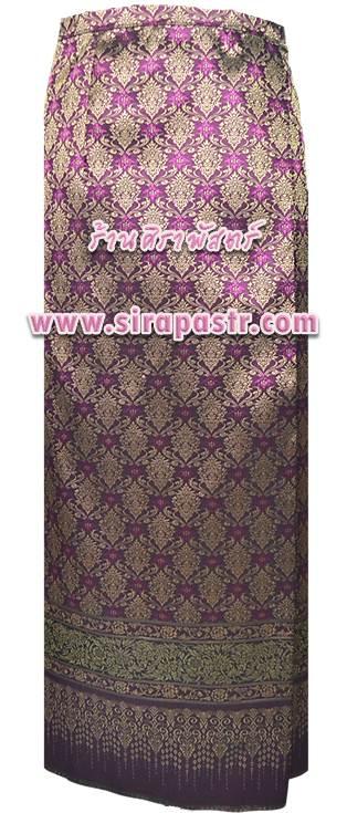 """ผ้าถุงป้ายข้าง สีม่วง (เอวใส่ได้ถึง 36"""") *ตรวจสอบรายละเอียดในหน้าสินค้า"""