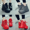รองเท้าผ้าใบเสริมส้น ไซต์ 35-39 สีดำ/แดง/เทา