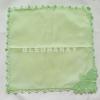 """ผ้าเช็ดหน้ามัสลินถักขอบสีเขียวอ่อน 11"""""""