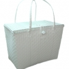 ตะกร้าพลาสติกสาน กระเป๋าพลาสติกสาน PML-White ฝาปิดใหญ่ กว้าง 27 cm. ยาว 41 cm. สูง 31cm.