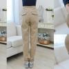 c6423 กางเกงขายาว มีซัพพลอตท้อง ปรับเอวได้ สีน้ำตาล