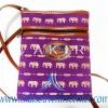 ของฝากจากไทย กระเป๋าสะพายลายช้างสายหนัง แบบ 9 สีม่วง