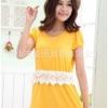 C562 ชุดให้นมชุดกระโปรงสีเหลือง แต่งลูกไม้ช่วงเอว น่ารัก ผ้าดี ใส่ออกงานได้จ้า