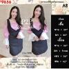 F9656 Dress Set 2 ชิ้น เสื้อปาดไหล่ ลายดอก สีชมพู + เอี๊ยมกระโปรงสีดำ
