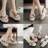 รองเท้าส้นเตารีดแต่งดอกไม้สวยๆสีพื้นดำ/ครีม/เทา/ชมพู ไซต์ 34-40