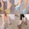 รองเท้าส้นสูงเก็ดกลิ๊กเตอร์สีฟ้า/ม่วง/ทอง/ชม ไซต์ 34-43