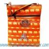 ของฝากจากไทย กระเป๋าสะพายลายช้างสายหนัง แบบ 15 สีส้ม
