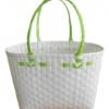ตะกร้าสานพลาสติก กระเป๋าสานพลาสติก ATS - สายเขียวตองอ่อน กว้าง 14 cm. ยาว 32 cm. สูง 20 cm.