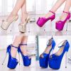 รองเท้าส้นสูง ไซต์ 34-43 สีน้ำเงิน สีชมพู สีทอง