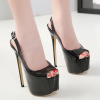 รองเท้าส้นสูงแบบเปิดหน้าสีดำหนังแก้ว ไซต์ 35-40