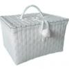 ตะกร้าสานพลาสติก กระเป๋าสานพลาสติก PY-White กว้าง 18 cm. ยาว 22 cm. สูง 14 cm.