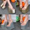 รองเท้าส้นเตารีด ไซต์ 34-38 สีเงิน สีทอง (รองเท้าส้นตึก)