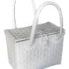 ตะกร้าสานพลาสติก กระเป๋าสานพลาสติก PSS-White ฝาปิดจิ๋ว กว้าง 17 cm. ยาว 24 cm. สูง 18 cm.