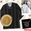 F8753เสื้อเกาะอก + เสื้อคุม ลายไทยสีดำ ผ้าชีฟอง