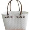 ตะกร้าสานพลาสติก กระเป๋าสานพลาสติก ATS - สายน้ำตาลเข้ม กว้าง 14 cm. ยาว 32 cm. สูง 20 cm.