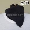 10ผืน สีดำ สี่เหลี่ยม53ซม ผ้าพันคอกีฬาสี ผ้าเช็ดหน้าผืนใหญ่