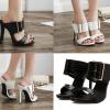 รองเท้าส้นสูงแบบสวมสีดำ/ขาว ไซต์ 35-40