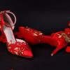 รองเท้าเจ้าสาวสีแดงแต่งดีเทลสวย ไซต์ 34-39