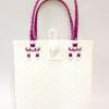 ตะกร้าสานพลาสติก กระเป๋าสานพลาสติก AU - สายแดง กว้าง 10 cm. ยาว 36cm. สูง 32 cm.