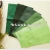 ผ้าเช็ดหน้าสีพื้นโทนเขียว 6 ผืน