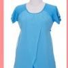 c1411 เสื้อยาวให้นม คลุมท้องสีฟ้า แต่งผ้าชีฟองด้านหน้า และมีเชือกผูกหลังปรับระดับได้ค่ะ
