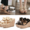 รองเท้าส้นเตารีดส้นลายไม้แต่งดอกไม้สวยๆสีครีม/ดำ ไซต์ 34-39