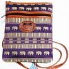 ของฝากจากไทย กระเป๋าสะพายลายช้างสายหนัง แบบ 31 สีม่วง