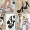 รองเท้าส้นสูงคัดชูสีชมพูนู๊ด/ดำ ไซต์ 35-39