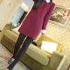 4603 เสื้อผ้าแฟชั่นสไตส์เกาหลี เดรสสีแดง แต่งอกปัก และแต่งที่คอกับแขนด้วยผ้าสีขาว