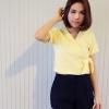 11505 set เสื้อแขนสั้น ปาดผูกข้าง สีเหลือง + กางเกงขาสั้นสีดำ