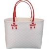 ตะกร้าสานพลาสติก กระเป๋าสานพลาสติก ATS - สายแดง กว้าง 14 cm. ยาว 32 cm. สูง 20 cm.