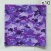 10 ผืน ผ้าพันคอ ผ้าโพกหัว ลายทหาร สีม่วง ผืนใหญ่