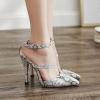 รองเท้าส้นสูงปลายแหลมหนังลายเกร็ดงูสีขาว ไซต์ 34-39