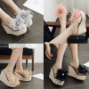 รองเท้าส้นเตารีดแต่งดอกไม้ผ้าสีน้ำตาล/ชมพู/เทา/ดำ ไซต์ 34-40