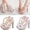 รองเท้าส้นสูงสีหวานแต่งดีเทลดอกไม้สีขาว/ครีม/ชมพู/ม่วง ไซต์ 34-43